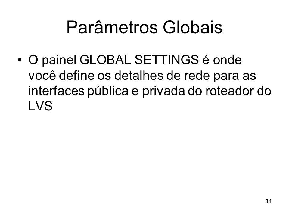 34 Parâmetros Globais O painel GLOBAL SETTINGS é onde você define os detalhes de rede para as interfaces pública e privada do roteador do LVS