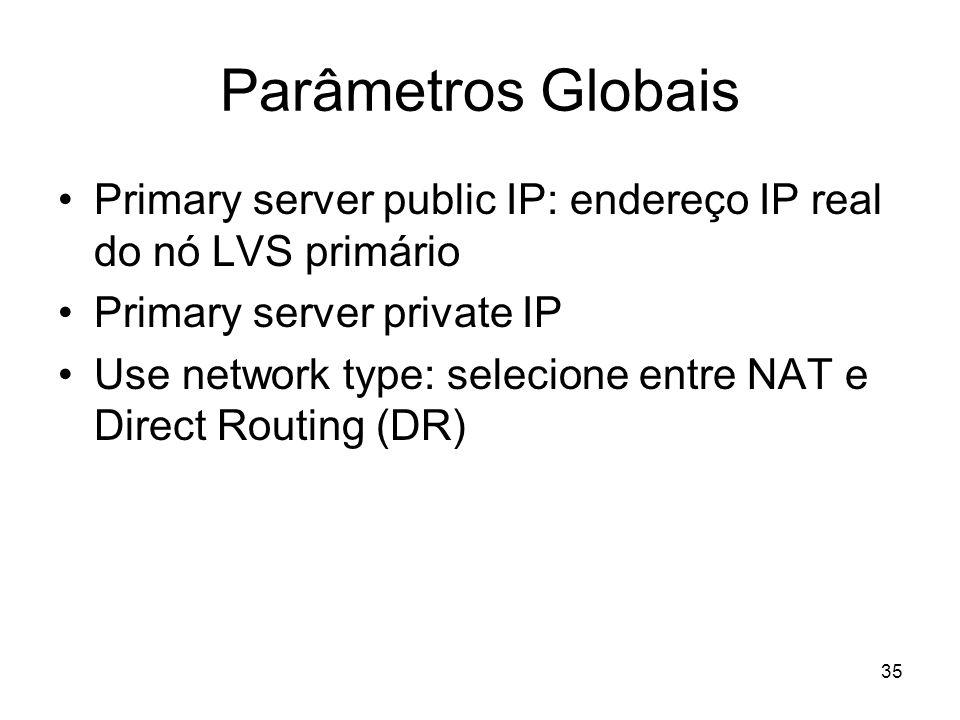 35 Parâmetros Globais Primary server public IP: endereço IP real do nó LVS primário Primary server private IP Use network type: selecione entre NAT e