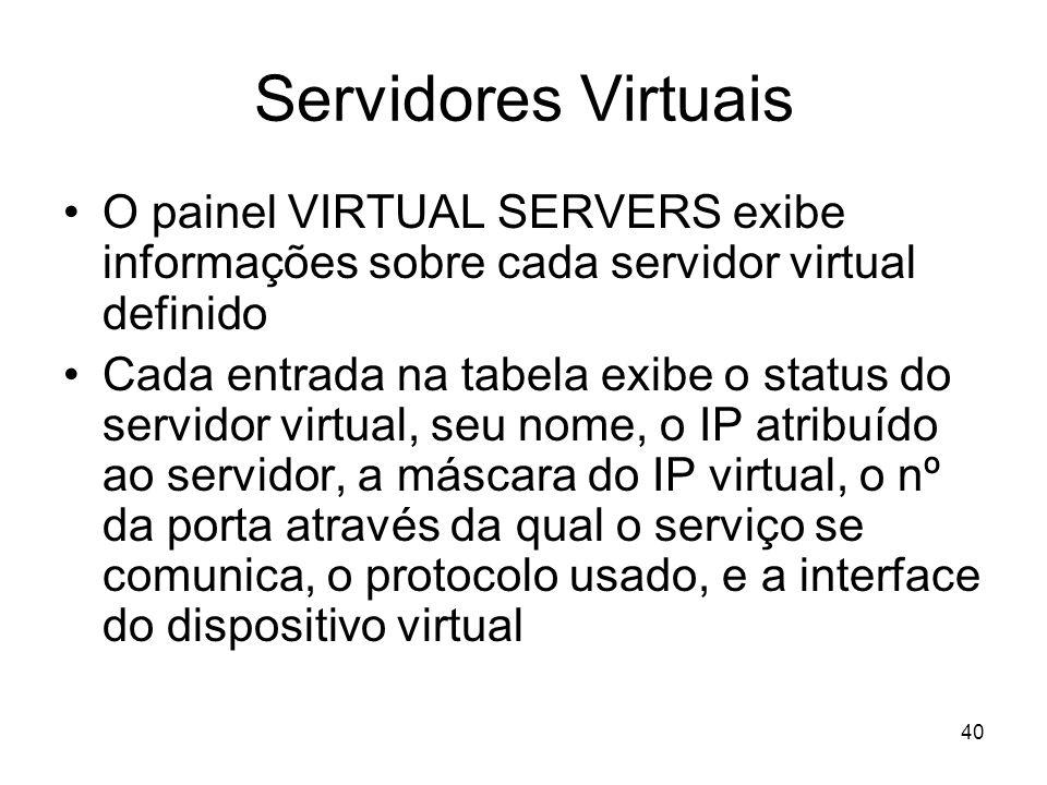 40 Servidores Virtuais O painel VIRTUAL SERVERS exibe informações sobre cada servidor virtual definido Cada entrada na tabela exibe o status do servid