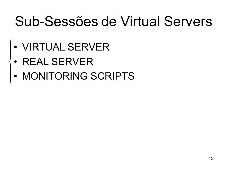 43 Sub-Sessões de Virtual Servers VIRTUAL SERVER REAL SERVER MONITORING SCRIPTS