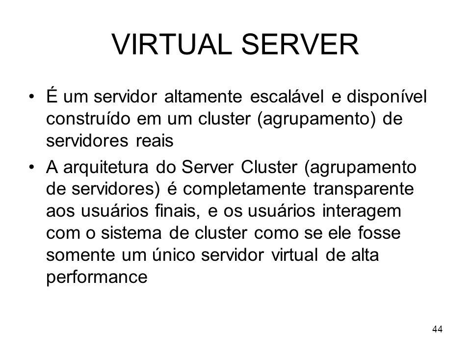 44 VIRTUAL SERVER É um servidor altamente escalável e disponível construído em um cluster (agrupamento) de servidores reais A arquitetura do Server Cl