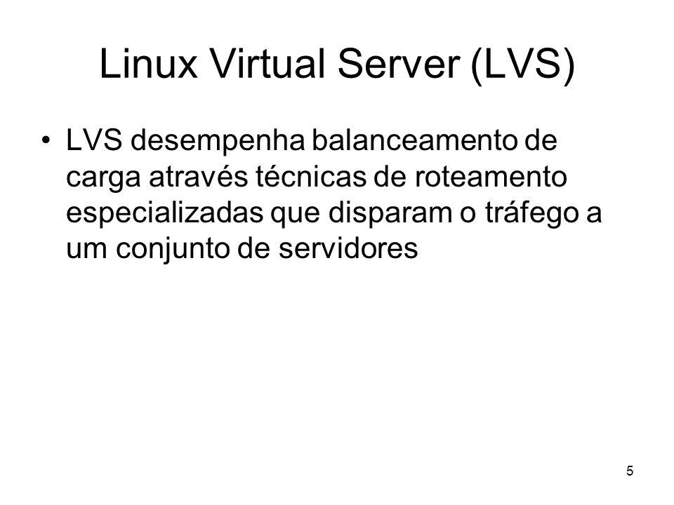 5 Linux Virtual Server (LVS) LVS desempenha balanceamento de carga através técnicas de roteamento especializadas que disparam o tráfego a um conjunto