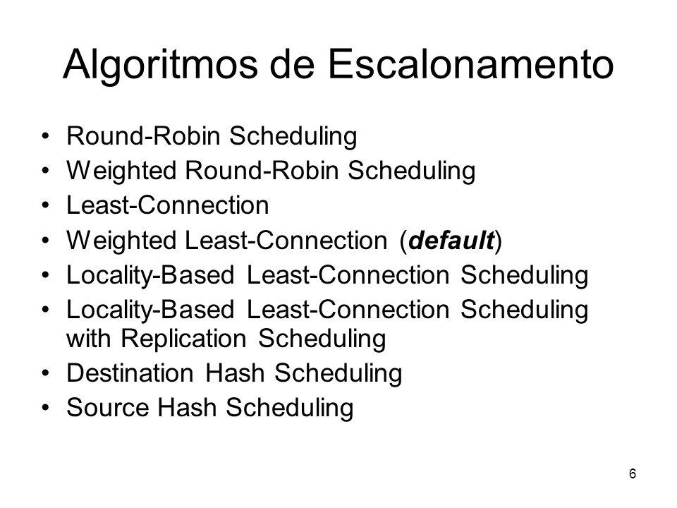 6 Algoritmos de Escalonamento Round-Robin Scheduling Weighted Round-Robin Scheduling Least-Connection Weighted Least-Connection (default) Locality-Bas
