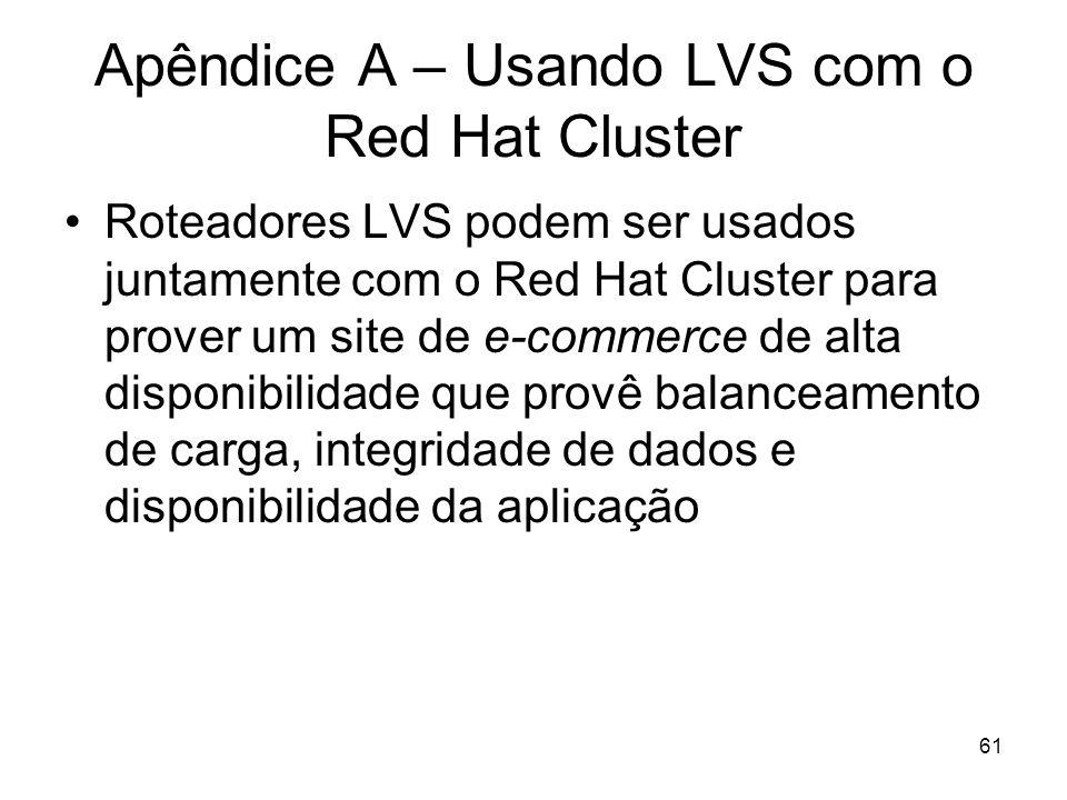 61 Apêndice A – Usando LVS com o Red Hat Cluster Roteadores LVS podem ser usados juntamente com o Red Hat Cluster para prover um site de e-commerce de