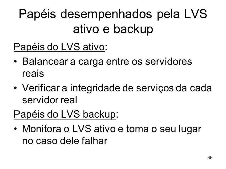 65 Papéis desempenhados pela LVS ativo e backup Papéis do LVS ativo: Balancear a carga entre os servidores reais Verificar a integridade de serviços d