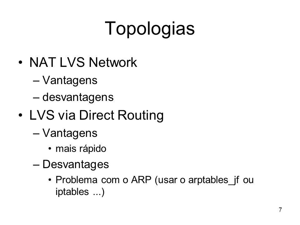 7 Topologias NAT LVS Network –Vantagens –desvantagens LVS via Direct Routing –Vantagens mais rápido –Desvantages Problema com o ARP (usar o arptables_