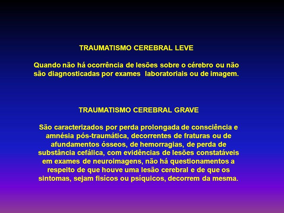 TRAUMATISMO CEREBRAL GRAVE São caracterizados por perda prolongada de consciência e amnésia pós-traumática, decorrentes de fraturas ou de afundamentos