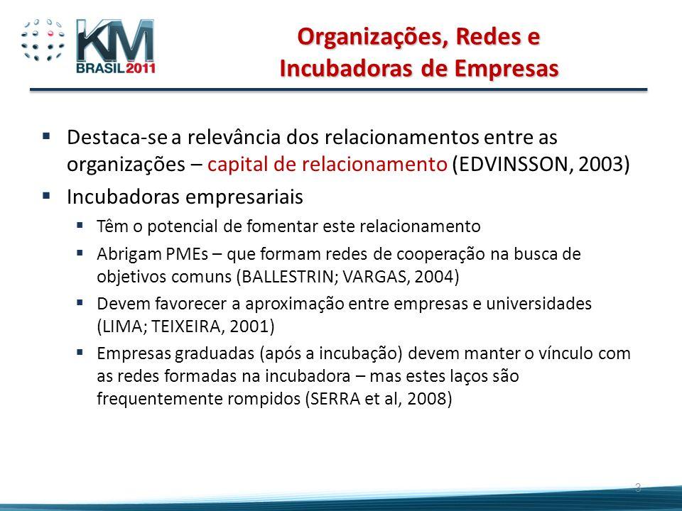 Organizações, Redes e Incubadoras de Empresas Destaca-se a relevância dos relacionamentos entre as organizações – capital de relacionamento (EDVINSSON
