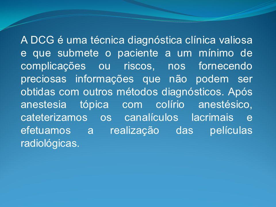 A DCG é uma técnica diagnóstica clínica valiosa e que submete o paciente a um mínimo de complicações ou riscos, nos fornecendo preciosas informações q