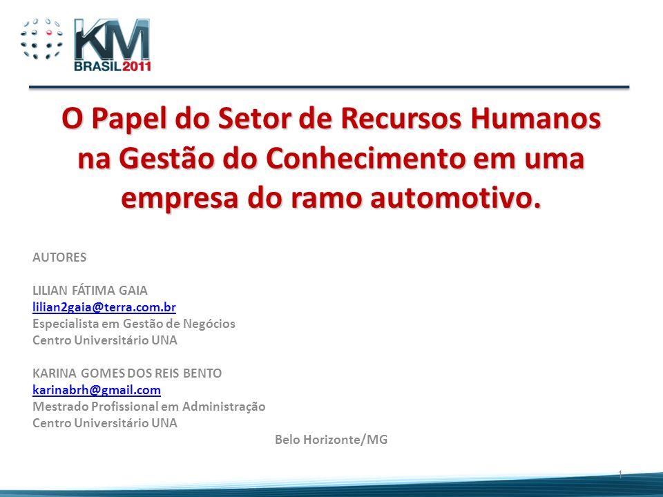 O Papel do Setor de Recursos Humanos na Gestão do Conhecimento em uma empresa do ramo automotivo. AUTORES LILIAN FÁTIMA GAIA lilian2gaia@terra.com.br