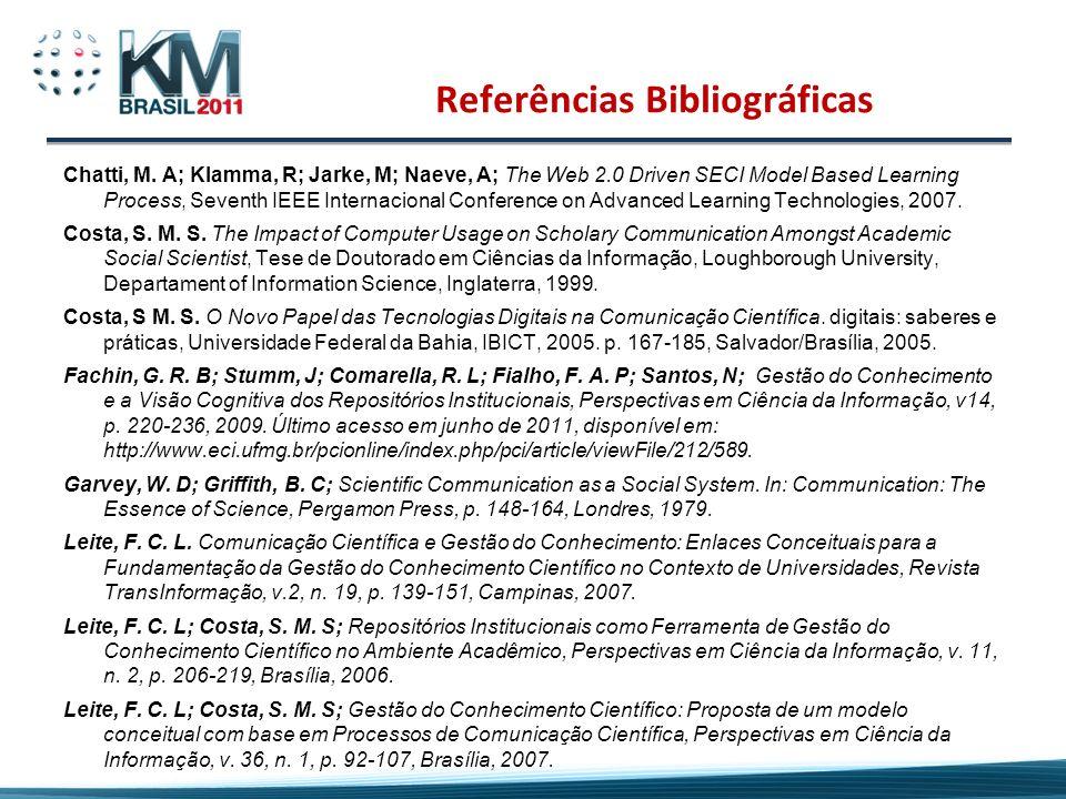 Referências Bibliográficas Chatti, M. A; Klamma, R; Jarke, M; Naeve, A; The Web 2.0 Driven SECI Model Based Learning Process, Seventh IEEE Internacion