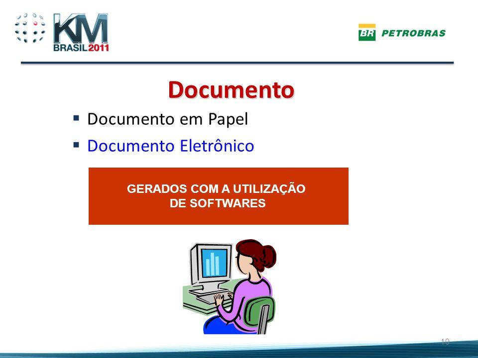 10 Documento em Papel Documento Eletrônico Documento GERADOS COM A UTILIZAÇÃO DE SOFTWARES