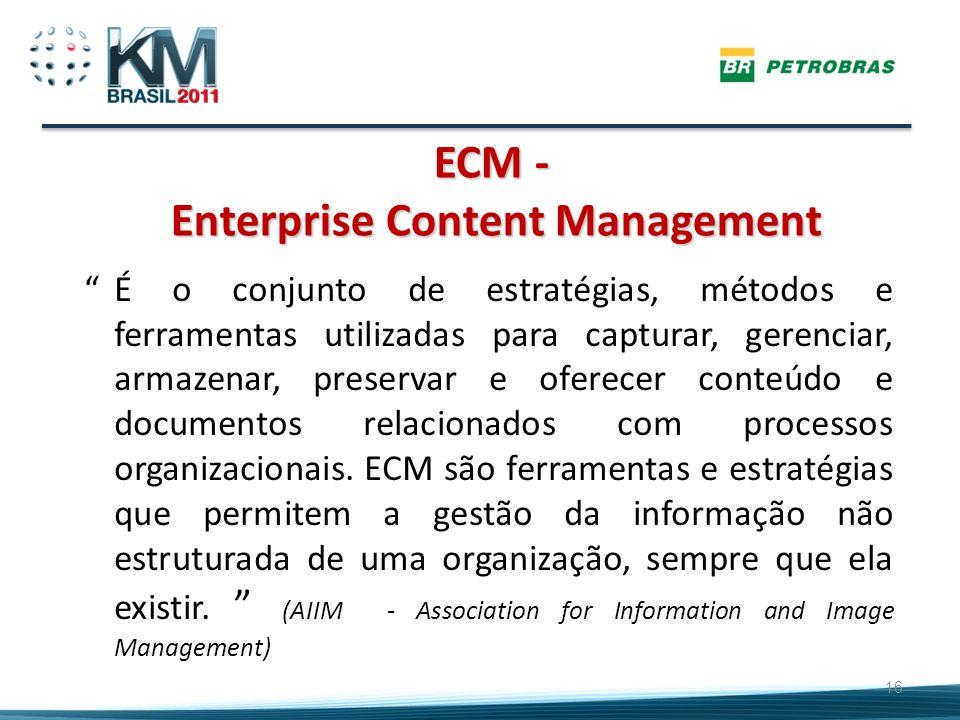 ECM - Enterprise Content Management 16 É o conjunto de estratégias, métodos e ferramentas utilizadas para capturar, gerenciar, armazenar, preservar e