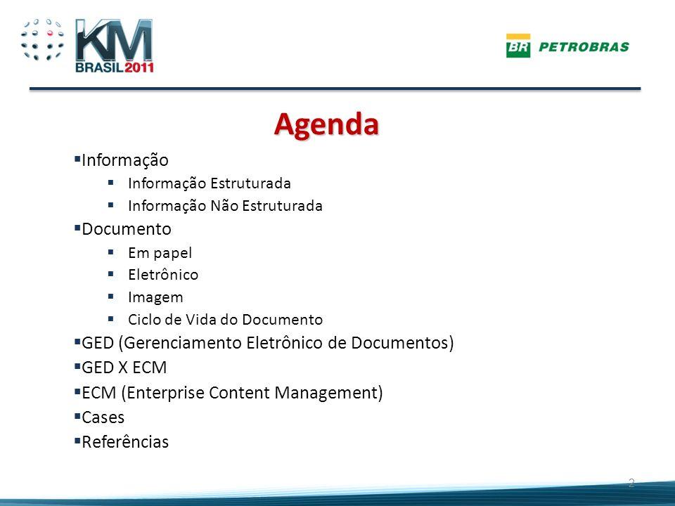 Agenda Informação Informação Estruturada Informação Não Estruturada Documento Em papel Eletrônico Imagem Ciclo de Vida do Documento GED (Gerenciamento
