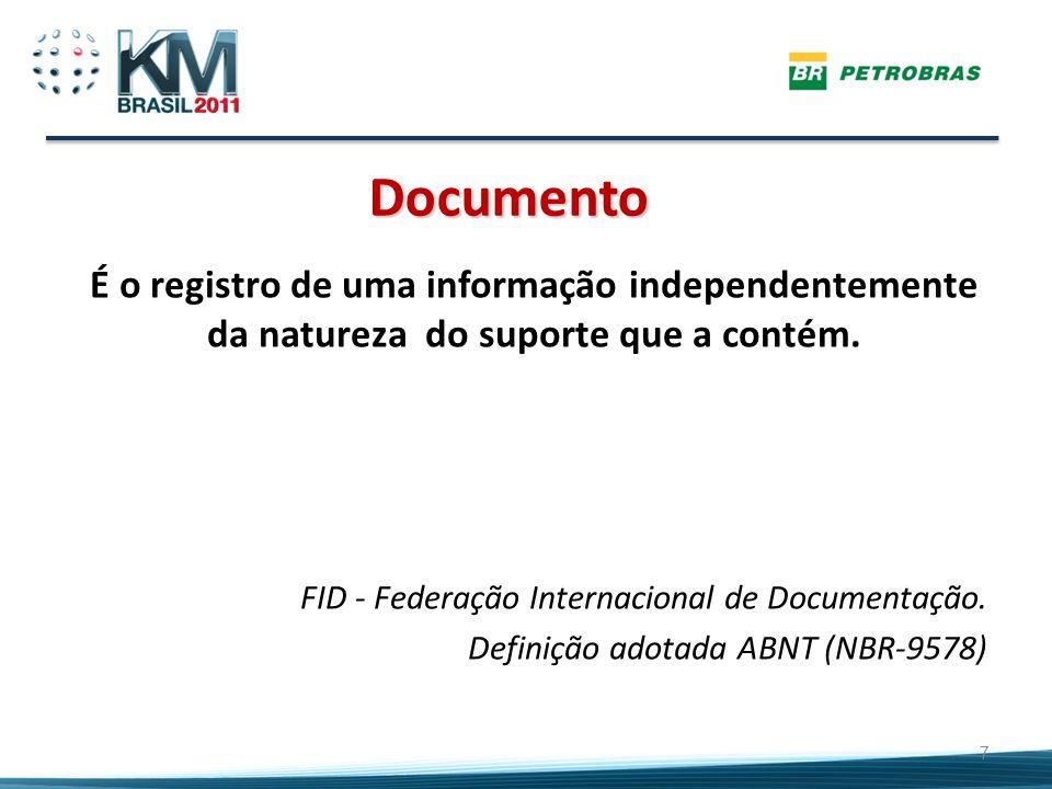 Documento É o registro de uma informação independentemente da natureza do suporte que a contém. FID - Federação Internacional de Documentação. Definiç