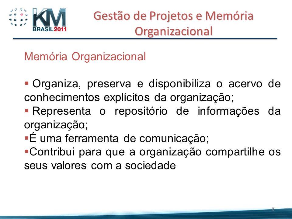6 Memória Organizacional Organiza, preserva e disponibiliza o acervo de conhecimentos explícitos da organização; Representa o repositório de informaçõ