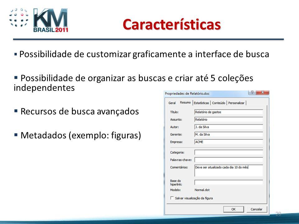 20 Características Possibilidade de customizar graficamente a interface de busca Possibilidade de organizar as buscas e criar até 5 coleções independe