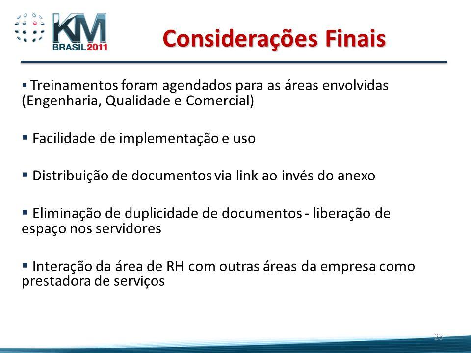 23 Considerações Finais Treinamentos foram agendados para as áreas envolvidas (Engenharia, Qualidade e Comercial) Facilidade de implementação e uso Di