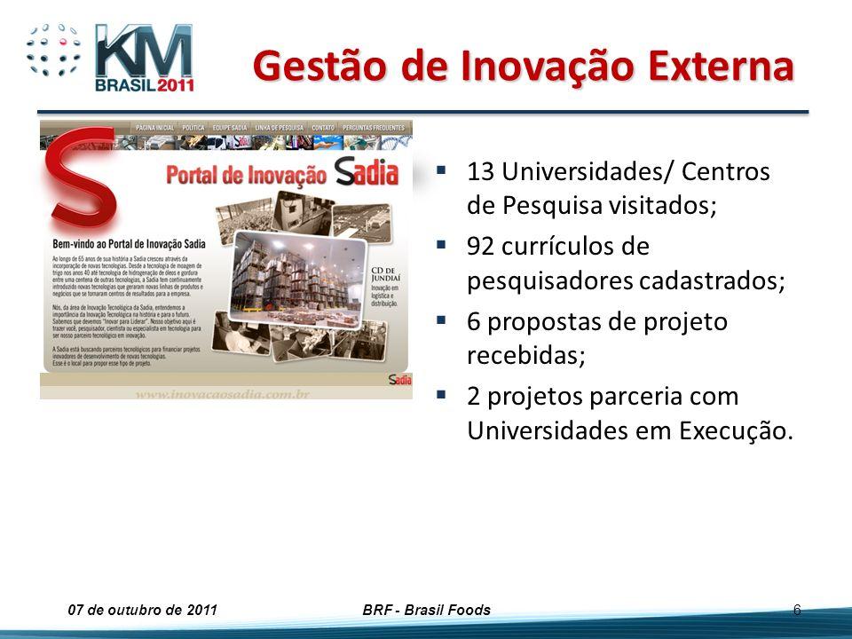 Gestão de Inovação Externa 13 Universidades/ Centros de Pesquisa visitados; 92 currículos de pesquisadores cadastrados; 6 propostas de projeto recebid