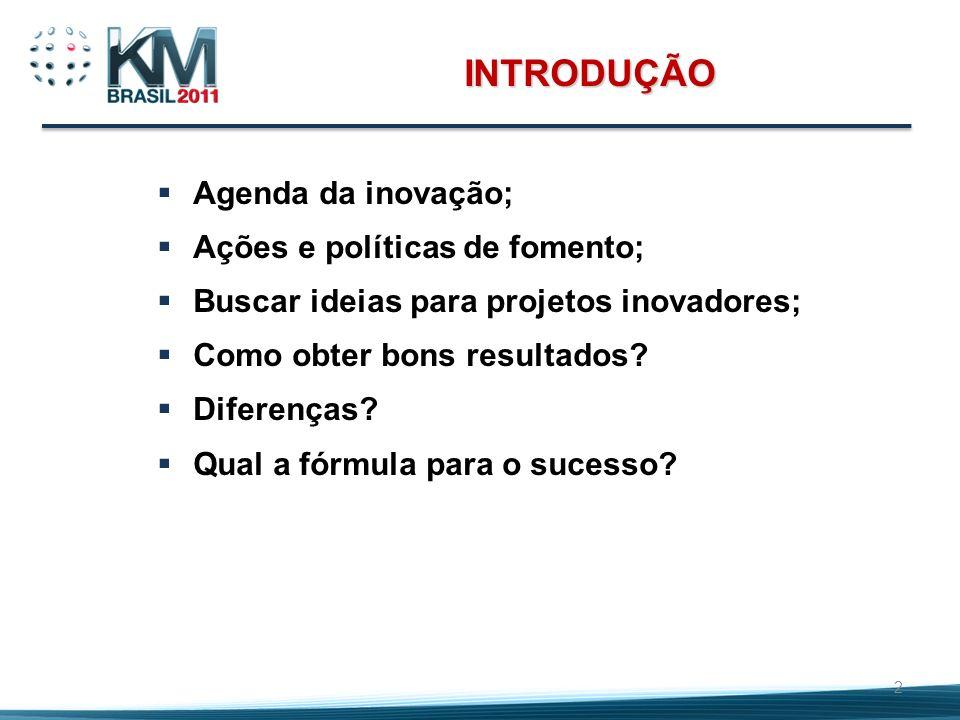 INTRODUÇÃO Agenda da inovação; Ações e políticas de fomento; Buscar ideias para projetos inovadores; Como obter bons resultados? Diferenças? Qual a fó