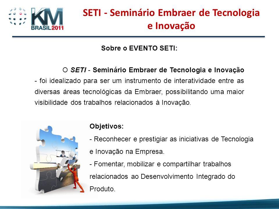 Sobre o EVENTO SETI: O SETI - Seminário Embraer de Tecnologia e Inovação - foi idealizado para ser um instrumento de interatividade entre as diversas