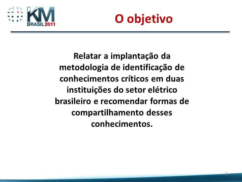 O objetivo 2 Relatar a implantação da metodologia de identificação de conhecimentos críticos em duas instituições do setor elétrico brasileiro e recom