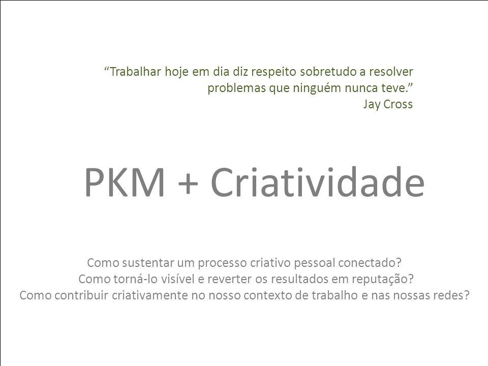 PKM + Criatividade Como sustentar um processo criativo pessoal conectado? Como torná-lo visível e reverter os resultados em reputação? Como contribuir