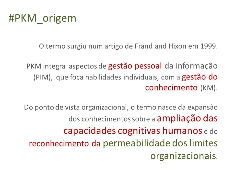 O termo surgiu num artigo de Frand and Hixon em 1999. PKM integra aspectos de gestão pessoal da informação (PIM), que foca habilidades individuais, co
