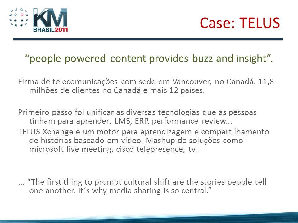 Case: TELUS people-powered content provides buzz and insight. Firma de telecomunicações com sede em Vancouver, no Canadá. 11,8 milhões de clientes no