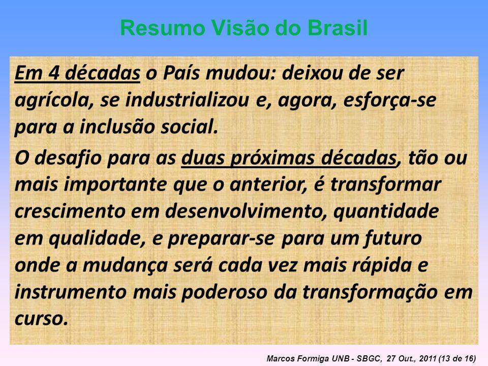 Resumo Visão do Brasil Em 4 décadas o País mudou: deixou de ser agrícola, se industrializou e, agora, esforça-se para a inclusão social. O desafio par