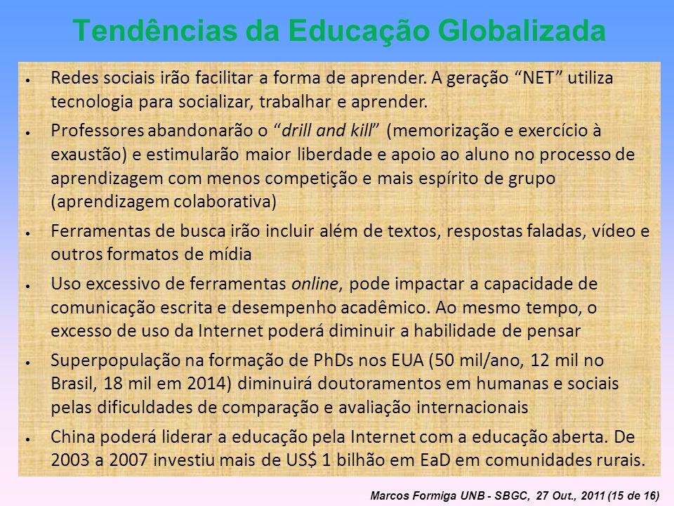 Tendências da Educação Globalizada Redes sociais irão facilitar a forma de aprender. A geração NET utiliza tecnologia para socializar, trabalhar e apr