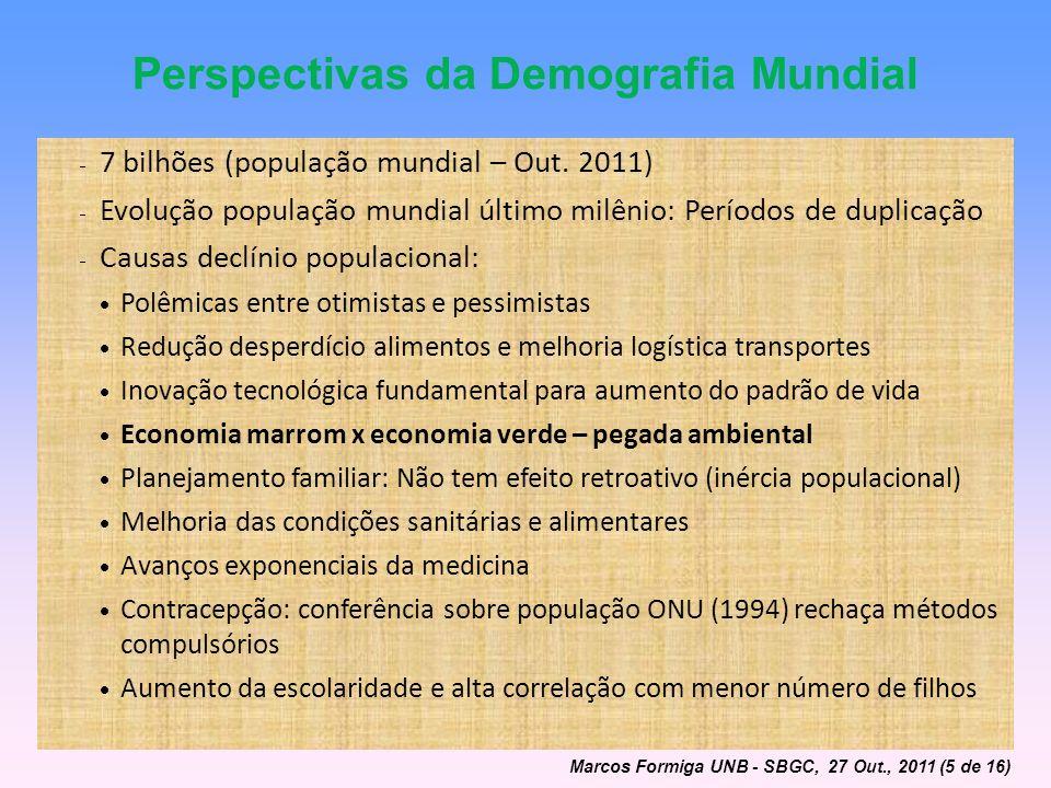 Perspectivas da Demografia Mundial 7 bilhões (população mundial – Out. 2011) Evolução população mundial último milênio: Períodos de duplicação Causas