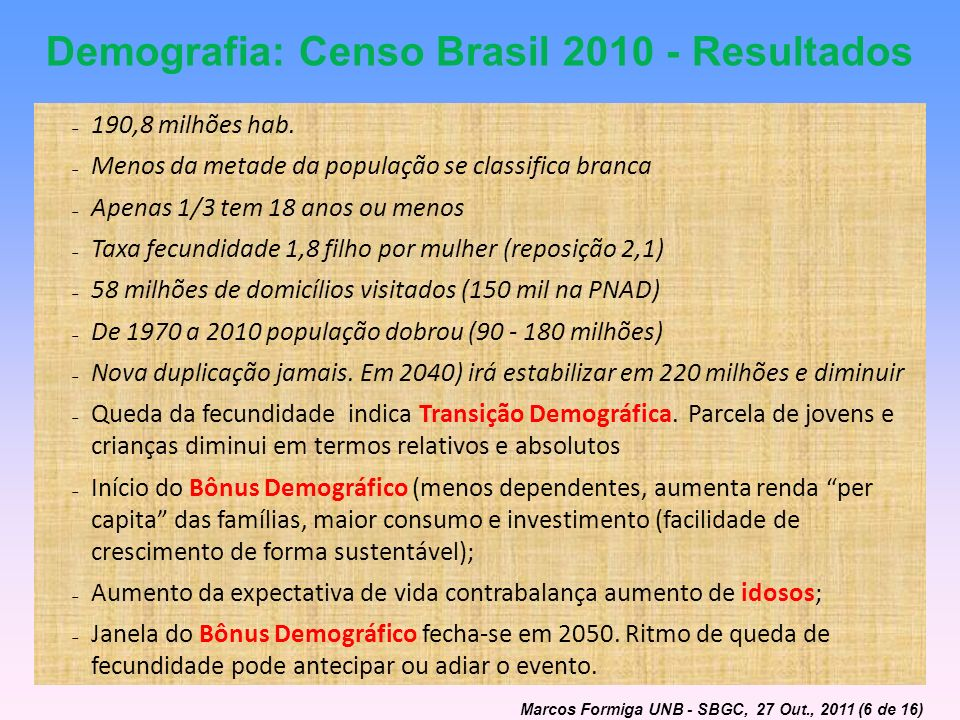 Demografia: Censo Brasil 2010 - Resultados 190,8 milhões hab. Menos da metade da população se classifica branca Apenas 1/3 tem 18 anos ou menos Taxa f