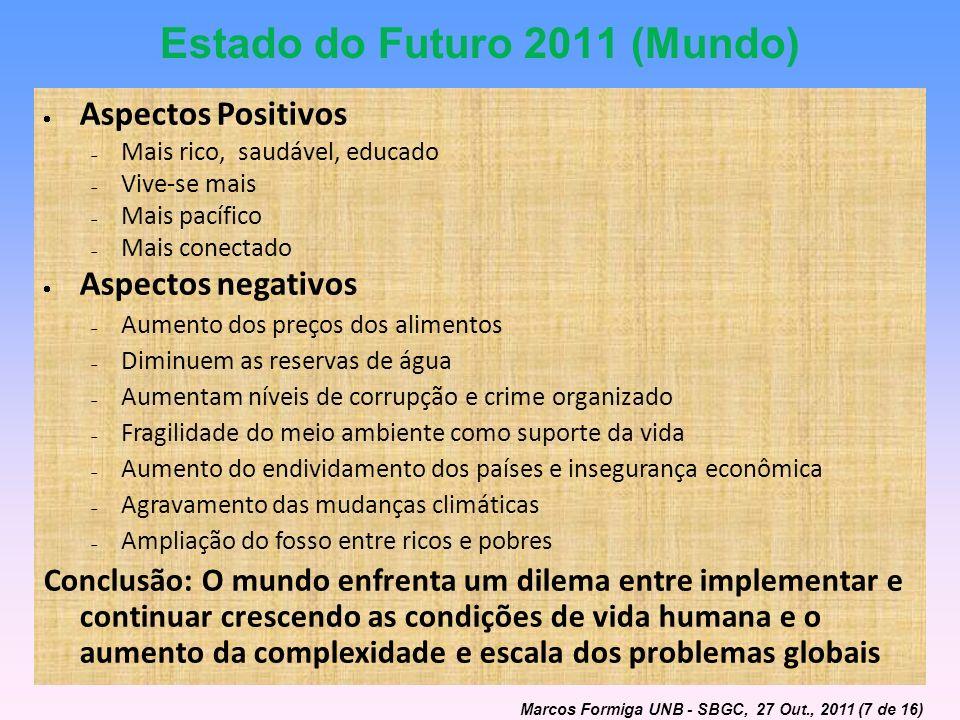 Estado do Futuro 2011 (Mundo) Aspectos Positivos Mais rico, saudável, educado Vive-se mais Mais pacífico Mais conectado Aspectos negativos Aumento dos