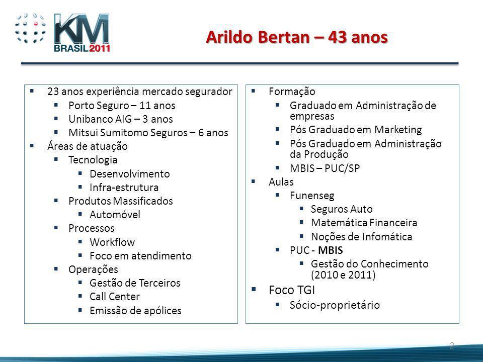 Arildo Bertan – 43 anos 23 anos experiência mercado segurador Porto Seguro – 11 anos Unibanco AIG – 3 anos Mitsui Sumitomo Seguros – 6 anos Áreas de a