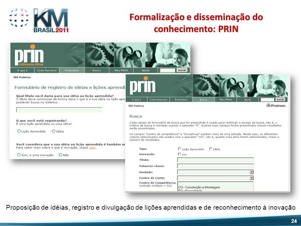 Proposição de idéias, registro e divulgação de lições aprendidas e de reconhecimento à inovação Formalização e disseminação do conhecimento: PRIN 24