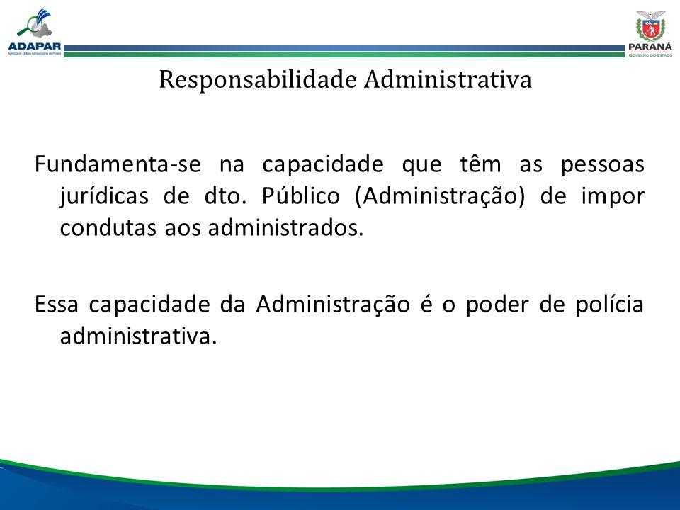Responsabilidade Administrativa Fundamenta-se na capacidade que têm as pessoas jurídicas de dto. Público (Administração) de impor condutas aos adminis