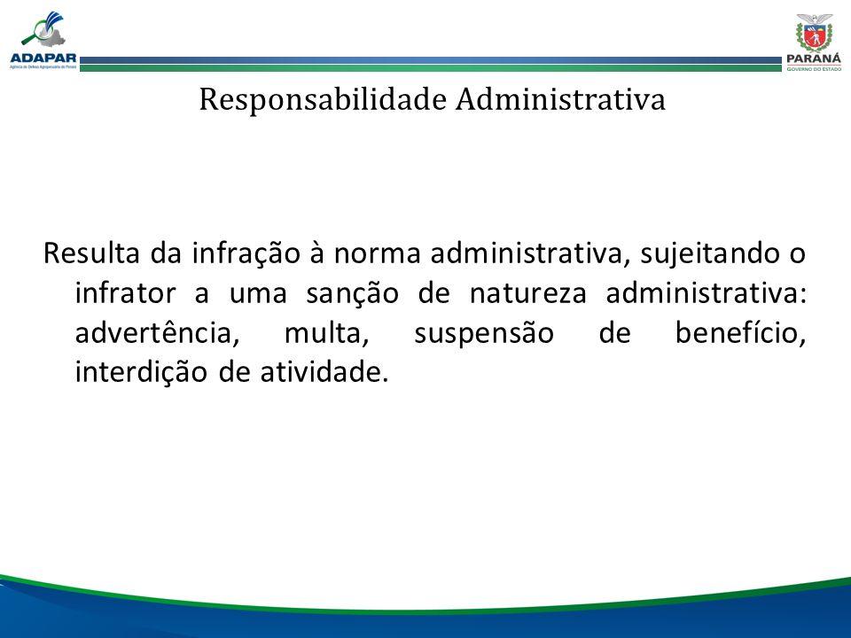 Responsabilidade Administrativa Resulta da infração à norma administrativa, sujeitando o infrator a uma sanção de natureza administrativa: advertência