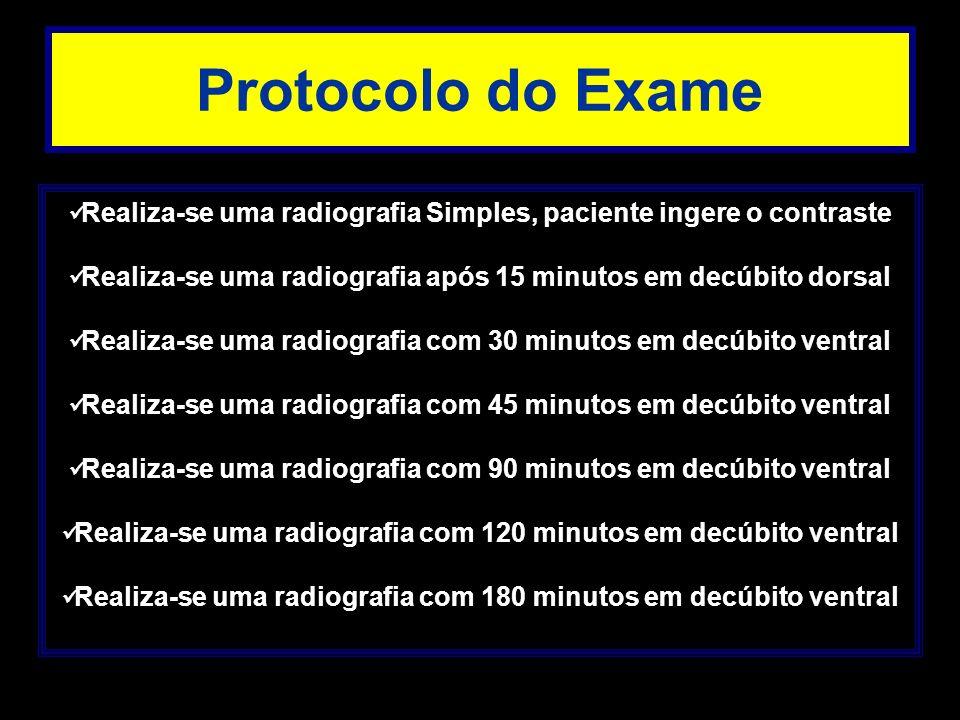 Protocolo do Exame Realiza-se uma radiografia Simples, paciente ingere o contraste Realiza-se uma radiografia após 15 minutos em decúbito dorsal Reali