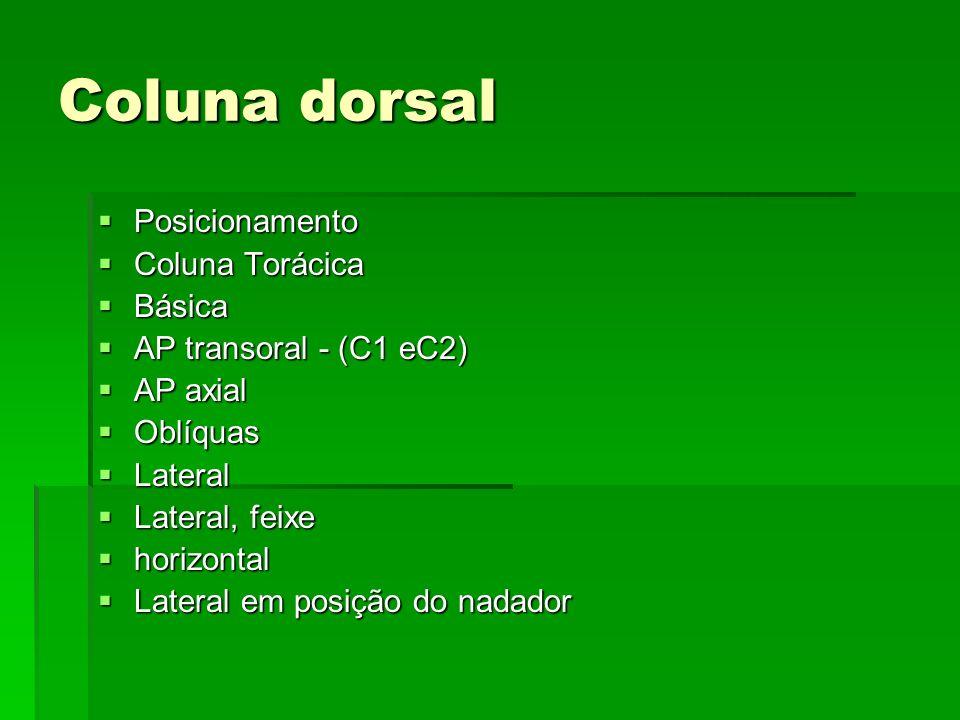 Coluna dorsal Posicionamento Posicionamento Coluna Torácica Coluna Torácica Básica Básica AP transoral - (C1 eC2) AP transoral - (C1 eC2) AP axial AP