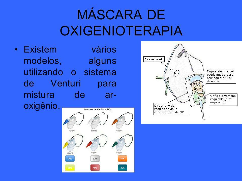 MÁSCARA DE OXIGENIOTERAPIA Existem vários modelos, alguns utilizando o sistema de Venturi para mistura de ar- oxigênio.