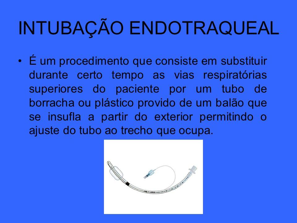 INTUBAÇÃO ENDOTRAQUEAL É um procedimento que consiste em substituir durante certo tempo as vias respiratórias superiores do paciente por um tubo de bo