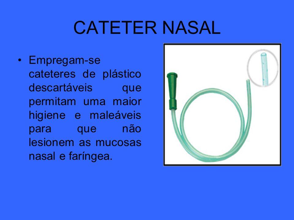 CATETER NASAL Empregam-se cateteres de plástico descartáveis que permitam uma maior higiene e maleáveis para que não lesionem as mucosas nasal e farín