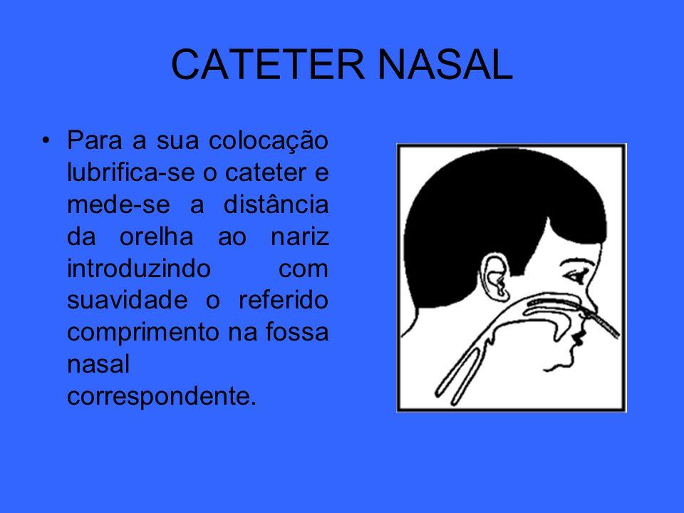 CATETER NASAL Para a sua colocação lubrifica-se o cateter e mede-se a distância da orelha ao nariz introduzindo com suavidade o referido comprimento n
