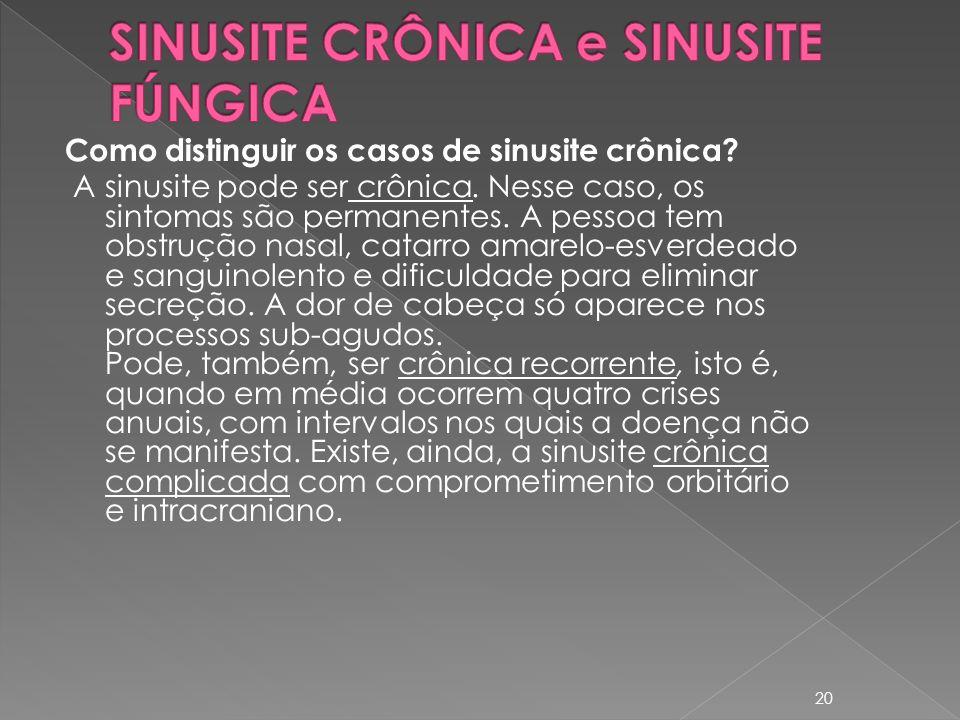 Como distinguir os casos de sinusite crônica.A sinusite pode ser crônica.