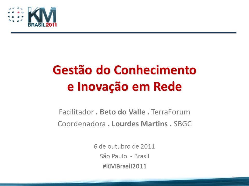 Gestão do Conhecimento e Inovação em Rede Facilitador. Beto do Valle. TerraForum Coordenadora. Lourdes Martins. SBGC 6 de outubro de 2011 São Paulo -