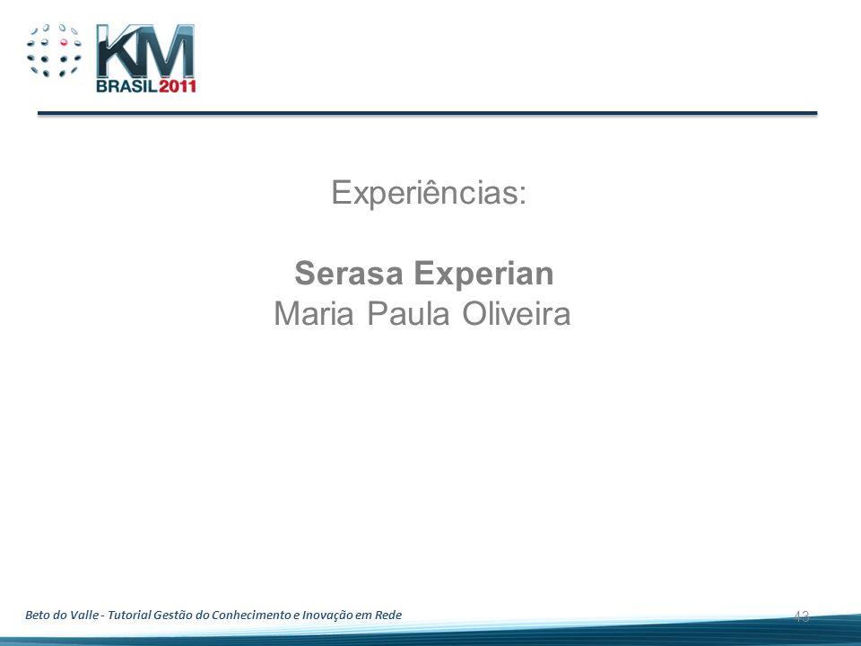 Beto do Valle - Tutorial Gestão do Conhecimento e Inovação em Rede 43 Experiências: Serasa Experian Maria Paula Oliveira