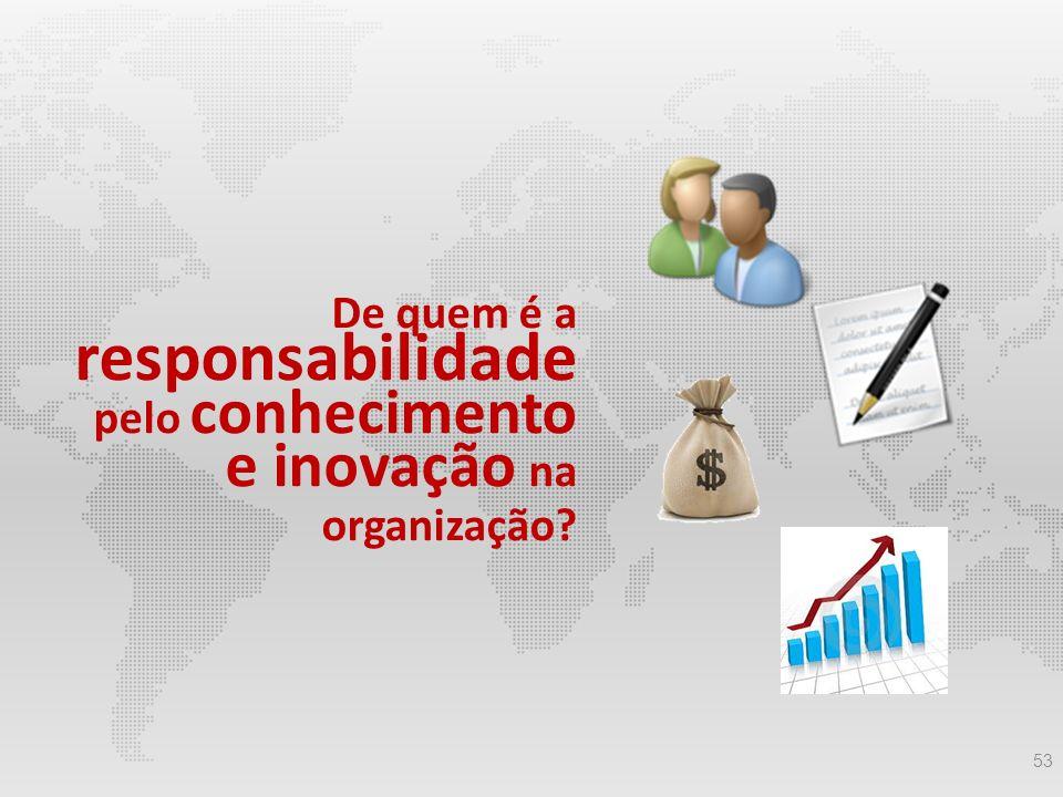 53 De quem é a responsabilidade pelo conhecimento e inovação na organização?