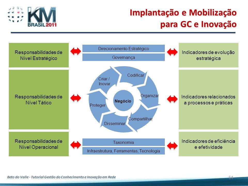 Beto do Valle - Tutorial Gestão do Conhecimento e Inovação em Rede 54 Indicadores de evolução estratégica Indicadores relacionados a processos e práti