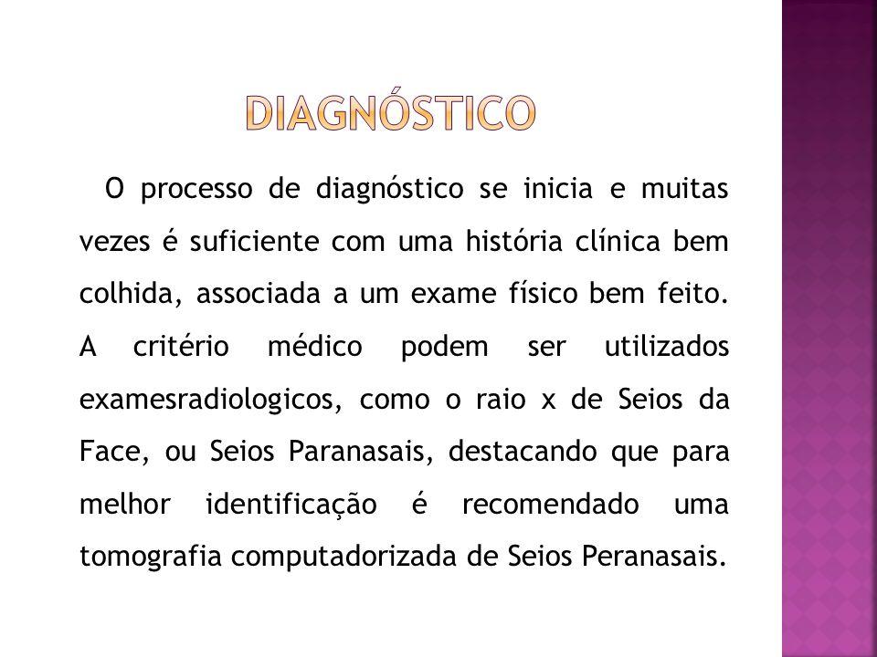 O processo de diagnóstico se inicia e muitas vezes é suficiente com uma história clínica bem colhida, associada a um exame físico bem feito. A critéri